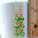 Round Lampwork Glass Beads Gold Tone Earrings - Green