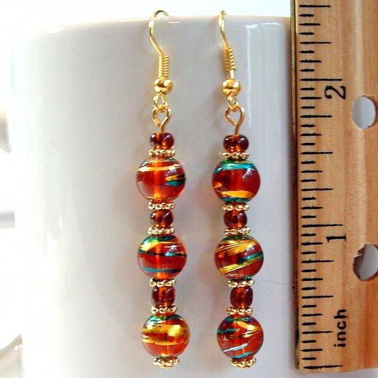 Round Lampwork Glass Beads Gold Tone Earrings - Brownish Red