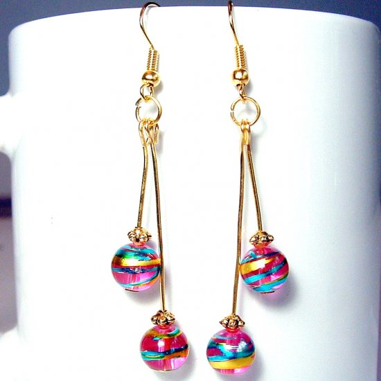 Round Glass Beads Gold Tone Earrings - Pink