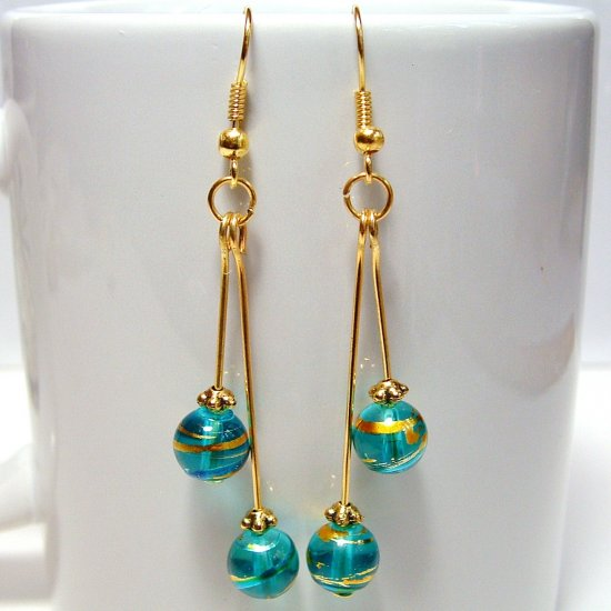 Round Glass Beads Gold Tone Earrings - Blue