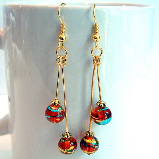 Round Glass Beads Gold Tone Earrings - Dark Red