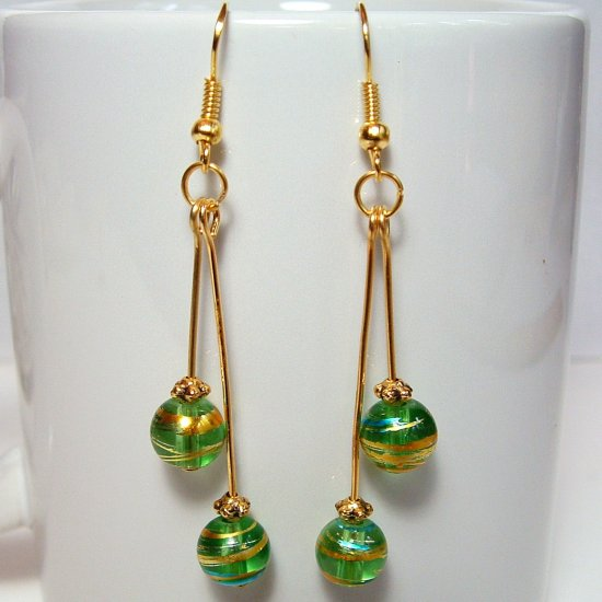 Round Glass Beads Gold Tone Earrings - Green