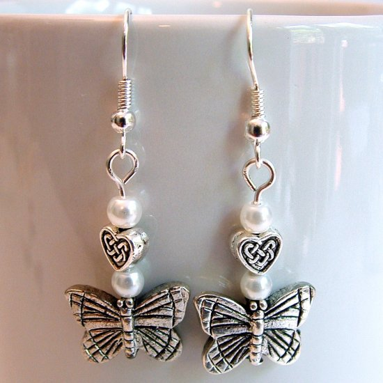Silver Tone Butterfly Earrings with White Pearls -Boxed