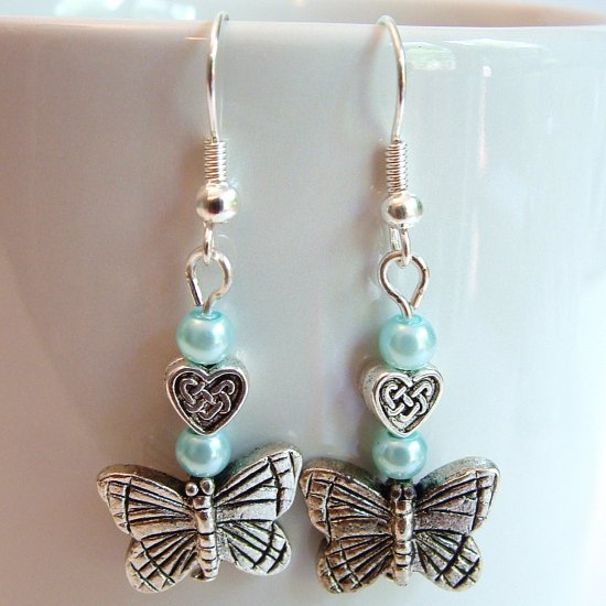 Silver Tone Butterfly Earrings with Blue Pearls -Boxed