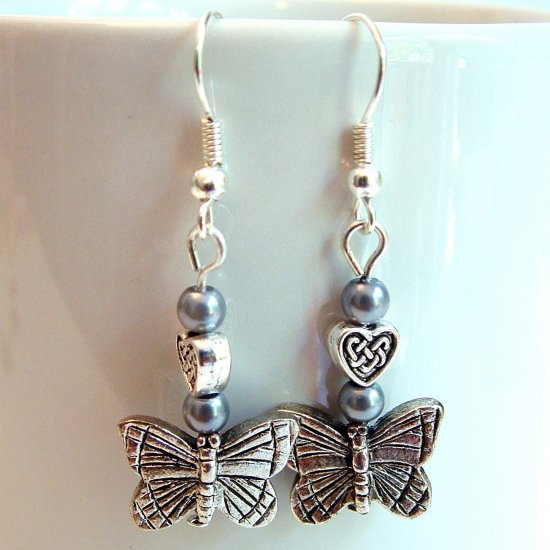 Silver Tone Butterfly Earrings with Dark Silver Pearls -Boxed