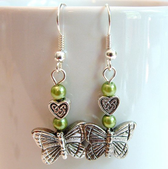Silver Tone Butterfly Earrings with Green Pearls -Boxed