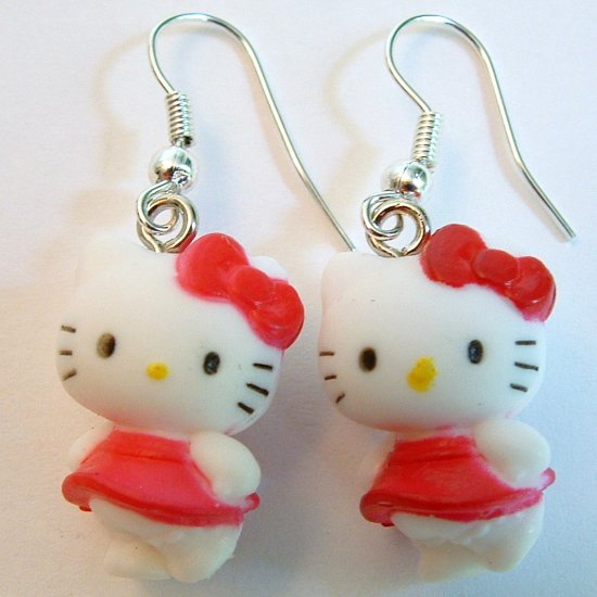 Dark Rose Color Bow HELLO KITTY Earrings