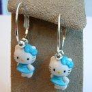 Handmade Blue Dress HELLO KITTY Silver Tone Hoop Earrings