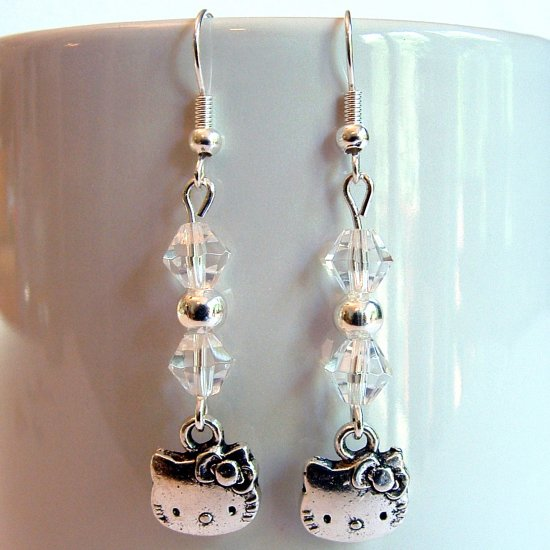 Silver Tone HELLO KITTY with Swarovski Crystal Earrings - Clear