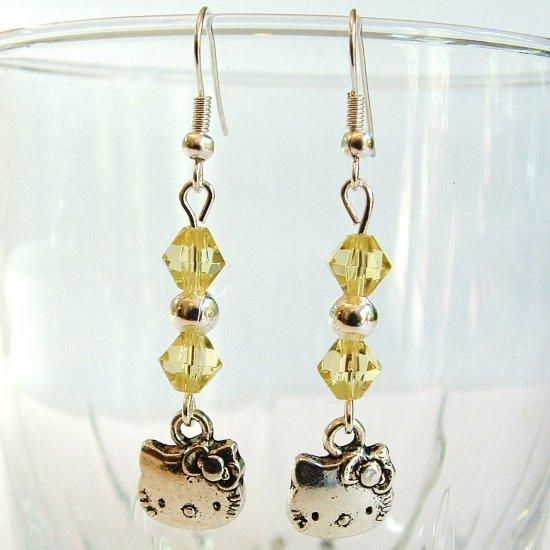 Silver Tone HELLO KITTY with Swarovski Crystal Earrings - Yellow