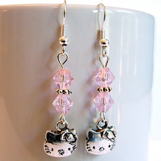 Silver Tone HELLO KITTY with Swarovski Crystal Earrings - Pink