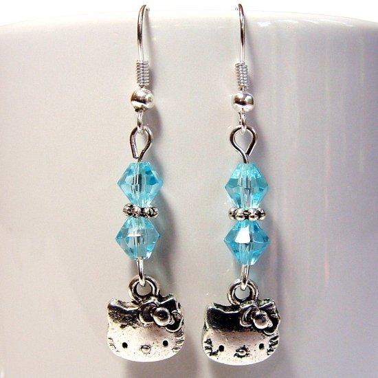 Silver Tone HELLO KITTY with Swarovski Crystal Earrings - Blue