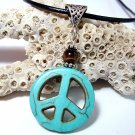 Turquoise Peace and Tiger Eye Leather Cord Necklace