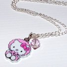 Handmade Baby Hello Kitty Pink Crystal Pendant Necklace