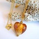 Amber Heart Lampwork Glass Bead Gold Necklace Handmade