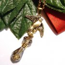 Gold Tone Dove Bird with Swarovski Crystals Necklace