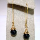Gold or Silver Black Onyx Gem Drop Earrings Handmade