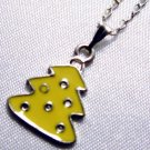 Yellow Enamel Christmas Tree Pendant Silver Tone Handmade Necklace