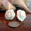 Large 20mm White Rose Post Earrings Studs Handmade