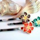 Handmade Polymer Clay Tropical Flower Hair Pins Trio