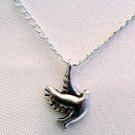 Dove Bird Pendant Silver Tone Handmade Necklace