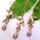 Gold Tone Dove Bird with Swarovski Crystals Handmade Earrings Necklace Gift Set