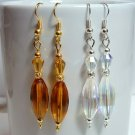 Handmade Glass Beads Earrings - Choose Gold Amber or Silver Crystal AB