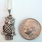 Silver Tone Owl Pendant Necklace Handmade