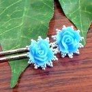 Glitter Sky Blue Rose Flower on Filigree Handmade Bobby Pins Hair Pins
