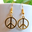 """1/2"""" Peace Sign Earrings - Gold or Silver"""