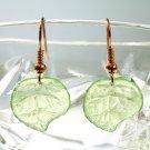 Orange Blue or Green Handmade Acrylic Leaf Earrings