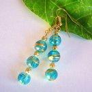Handmade Light Blue Foil Glass Beads Earrings - Gold Filigree or Glass Pearls