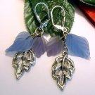 Handmade Silver Blue Purple Leaf Leaves Dangle Earrings