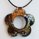 Large Flower Lampwork Glass Pendant Leather Necklace