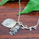 Silver Owl and Frosted Glass Leaf on Branch Handmade Asymmetrical Necklace
