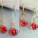 Handmade Round Red Lampwork Glass Bead with Pink Flower Gold Tone Drop Earrings