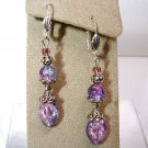 Handmade Pink Blue Crackle Glass Silver Dangle Earrings