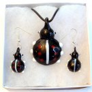 Black Ladybug Lampwork Glass Pendant Necklace & Earrings Set