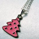 Pink Enamel Christmas Tree Pendant Silver Tone Handmade Necklace