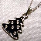 Black Enamel Christmas Tree Pendant Silver Tone Handmade Necklace