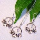 Handmade Silver Flower w/ Crystal Earrings Necklace Set