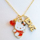 Handmade Hello Kitty Love Red Crystal Pendant Gold Necklace