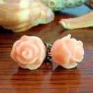 Handmade Rose Bud Post Earrings Studs - Peach Pink