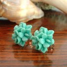 Green Flower Post Earrings Studs Handmade
