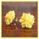 Yellow Flower Post Earrings Studs Handmade
