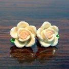 Ivory with Pale Pink Core Flower Post Stud Handmade Earrings