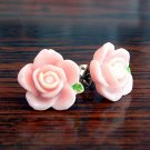 Pink with White Core Flower Post Stud Handmade Earrings