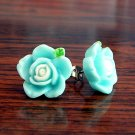 Pastel Blue with White Core Flower Post Stud Handmade Earrings