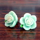 Pastel Green with White Core Flower Post Stud Handmade Earrings