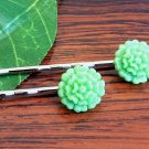 Glitter Lime Green Mum Flower Bobby Pins Hair Pins Handmade